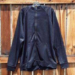 Adidas hooded jacket black lightweight mens XL